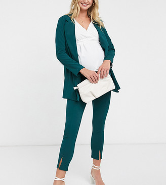 ASOS DESIGN Maternity jersey over bump slim suit pants in forest green
