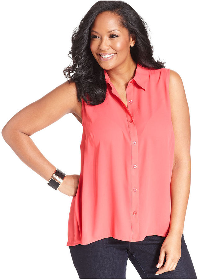 Style&Co. Plus Size Top, Sleeveless Button-Back Shirt