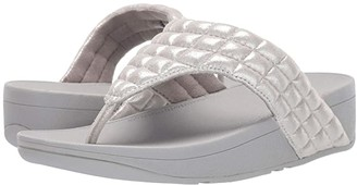 FitFlop Lulu Padded Shimmy Suede Toe Thong (Silver) Women's Shoes