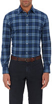 Piattelli MEN'S PLAID COTTON FLANNEL SHIRT-NAVY, DARK GREEN, LIGHT BLUE SIZE S