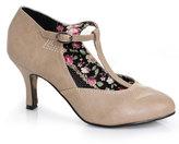 Nude Leatherette Closed Toe Gavi T-Strap Heels Shoes