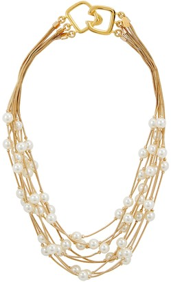 Kenneth Jay Lane Faux pearl-embellished strand necklace