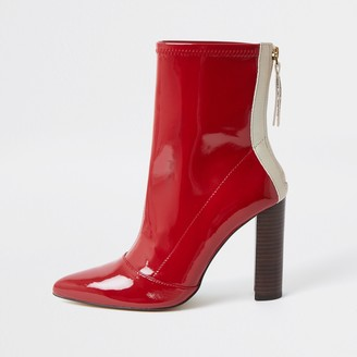 River Island Womens Red point toe stitch detail ankle boots