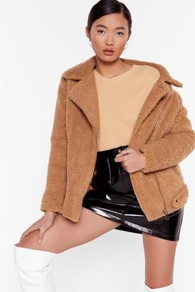 Nasty Gal Womens Teddy Oh Baby Faux Fur Coat - brown - L