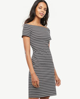 Ann Taylor Petite Stripe Off The Shoulder Shift Dress