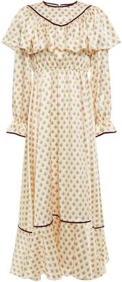 ALEXACHUNG Velvet-trimmed Floral-print Satin Midi Dress