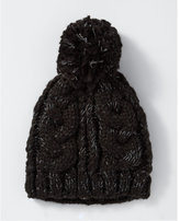 Express cable knit pom-pom beanie