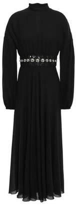 Giambattista Valli Embellished Gathered Wool-blend Twill Midi Dress