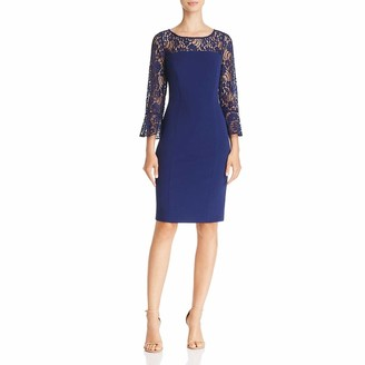 Adrianna Papell Women's Knit Crepe and Lace Sheath