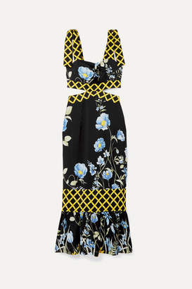 Alice McCall Flower Girl Cutout Floral-print Crepe De Chine Midi Dress - Black