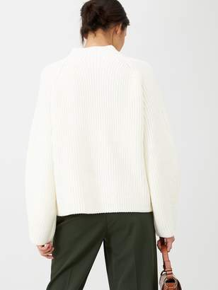 Very Ribbed Grown On Neck Jumper - Cream