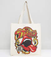 Reclaimed Vintage Inspired Tote Bag With Rolling Stones Print