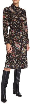Etro Silk Floral Paisley Shirt Dress
