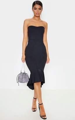 PrettyLittleThing Black Frill Hem Bandeau Midi Dress