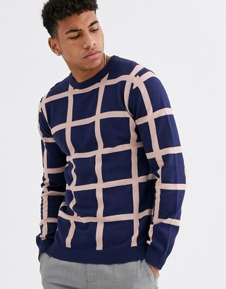 Aray muscle fit grid check crew neck jumper-Navy