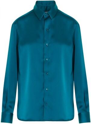 Ami Satin Button-Down Shirt