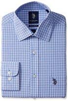 U.S. Polo Assn. Men's Tatersal Check Semi Spread Collar Dress Shirt