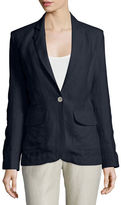 Neiman Marcus One-Button Fitted Linen Blazer