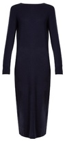 Allude Long-sleeved wool and cashmere-blend dress