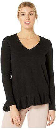 Lilla P Loose Knit Slub Long Sleeve Ruffle Hem Tee (Black) Women's Clothing