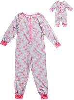 Dollie & Me Girls 4-14 Heart One-Piece Pajama Set