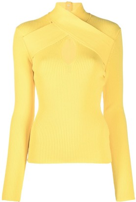 MSGM Cut-Out Detail Ribbed Jumper