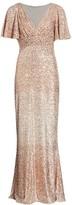 Sequin Flutter-Sleeve Column Gown