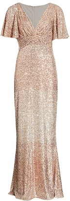 Teri Jon By Rickie Freeman Sequin Flutter-Sleeve Column Gown