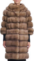 Simonetta Ravizza Seamed Sable Fur Coat with Zip-Off Bottom