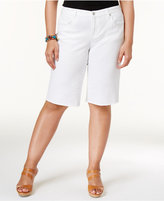 Style&Co. Style & Co Plus Size Frayed-Hem Denim Bermuda Shorts, Created for Macy's