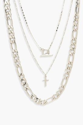 boohoo Chunky Chain & T-Bar Layered Necklace