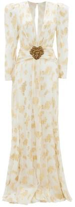 Dundas Plunge-neckline Leaf-jacquard Silk-crepe Gown - White