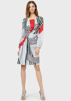 Emporio Armani Pure Silk Dress With An Oversized Check Print