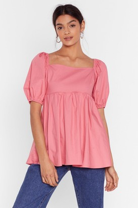 Nasty Gal Womens Square Neckline Puff Sleeve Blouse - Rose