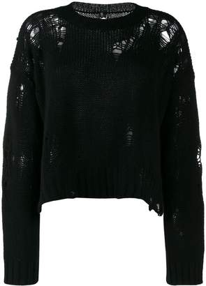 R 13 distressed knit jumper