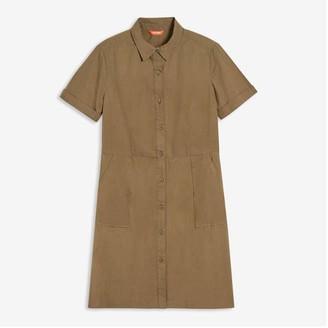 Joe Fresh Women's Fit-and-Flare Shirt Dress, Olive (Size S)