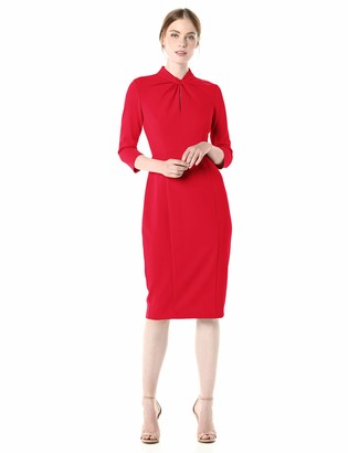 Donna Morgan Women's Stretch Crepe 3/4 Sleeve Twisted Neckline Sheath Dress