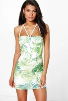 boohoo Donatella Tropical Print Strappy Bodycon Dress green