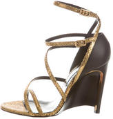Lanvin Metallic Snakeskin Sandals
