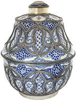 One Kings Lane Vintage Blue & White Moroccan Oversize Urn