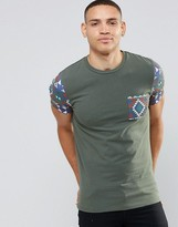 Asos Muscle T-Shirt With Geo-Tribal Print Pocket And Sleeves In Khaki