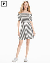 White House Black Market Petite Off-the-Shoulder Striped Knit Sneaker Dress