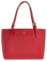 Tory Burch 'Small York' Saffiano Leather Buckle Tote - Red