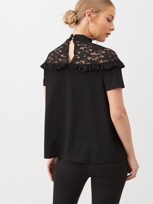 Very Lace Yoke Blouse - Black