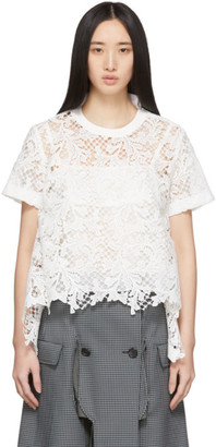 Sacai White Embroidered Lace Top