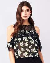 Lipsy Lace Insert Floral Print Ruffle Top