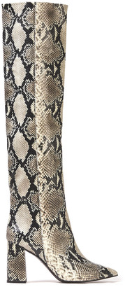 Tabitha Simmons Izzy Snake-effect Leather Knee Boots