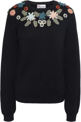 RED Valentino Appliqued Ribbed Wool Swater
