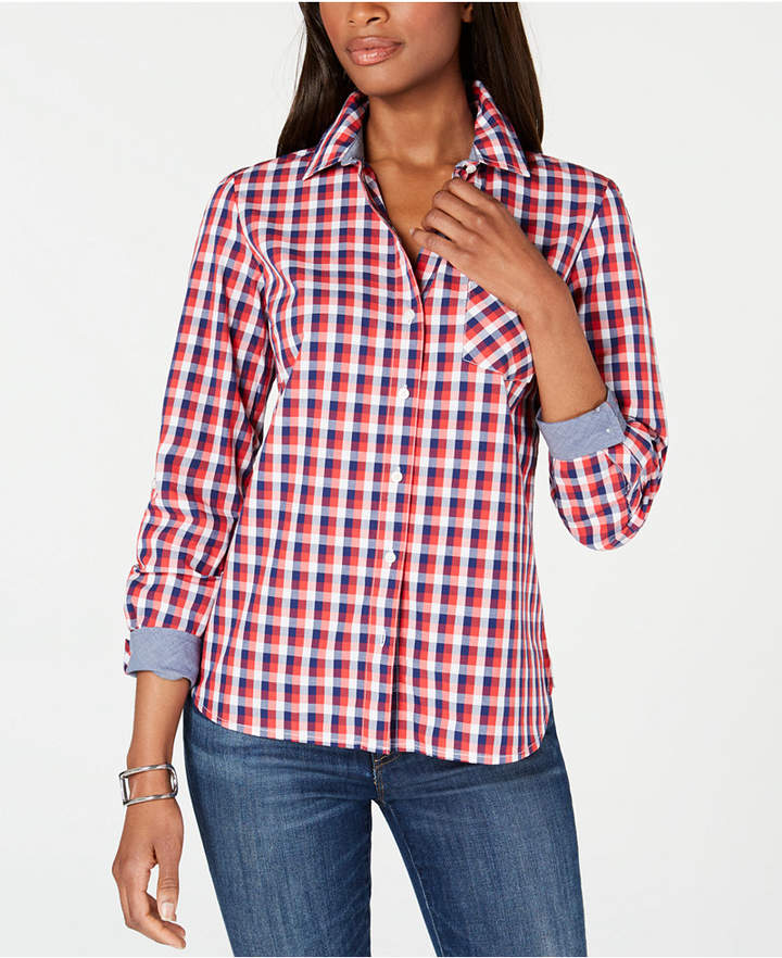 953f6187 Red Plaid Button Down - ShopStyle