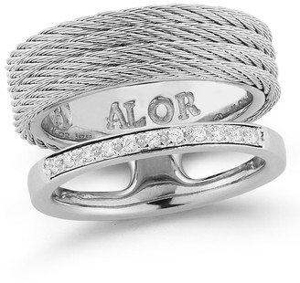 Alor Cable & Diamond Asymmetrical Ring - Size 7 - 0.09 ctw